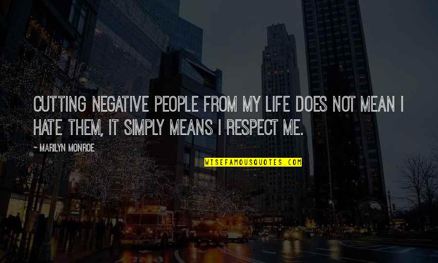 Hate Me Not Quotes By Marilyn Monroe: Cutting negative people from my life does not