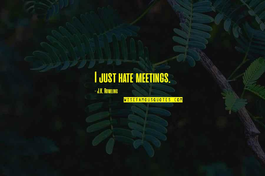 Hate Meetings Quotes By J.K. Rowling: I just hate meetings.
