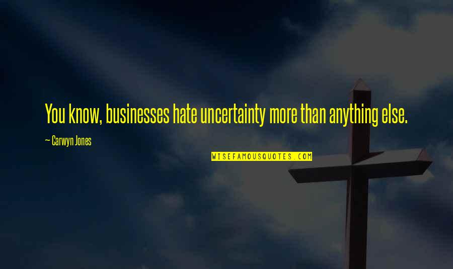 Hate You More Than Anything Quotes By Carwyn Jones: You know, businesses hate uncertainty more than anything