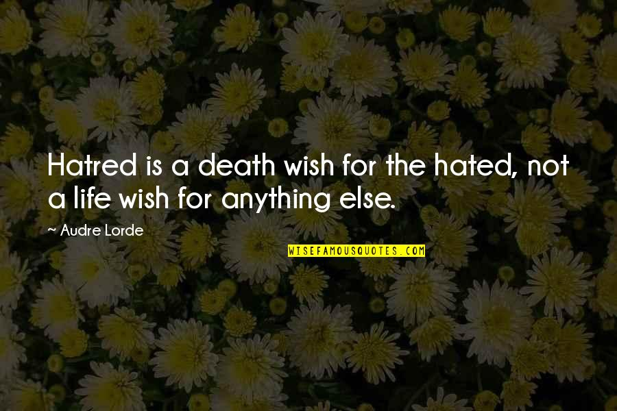 Hated Quotes By Audre Lorde: Hatred is a death wish for the hated,