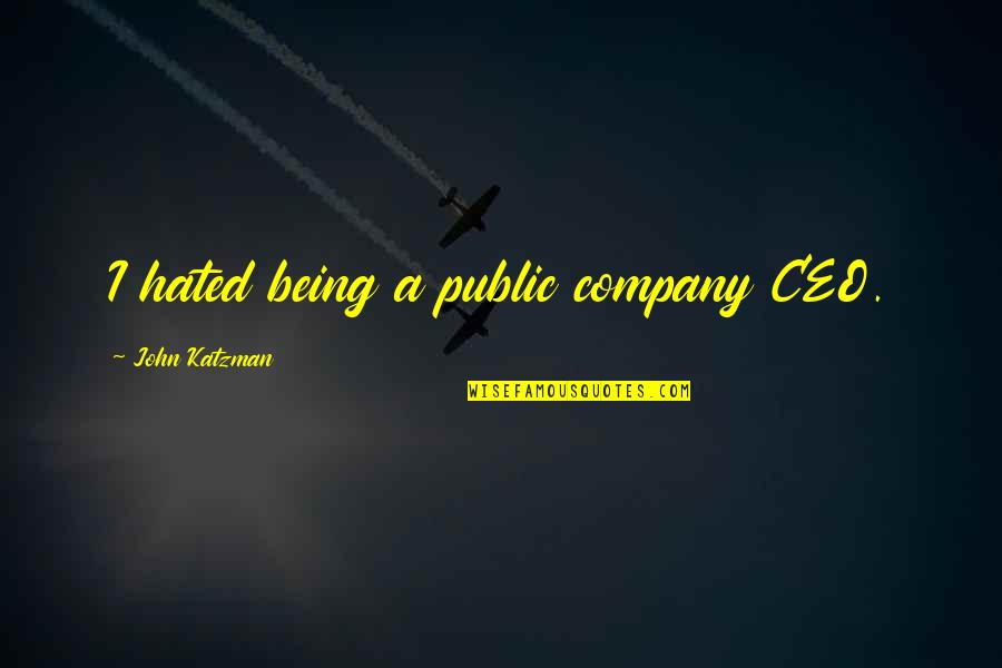 Hated Quotes By John Katzman: I hated being a public company CEO.