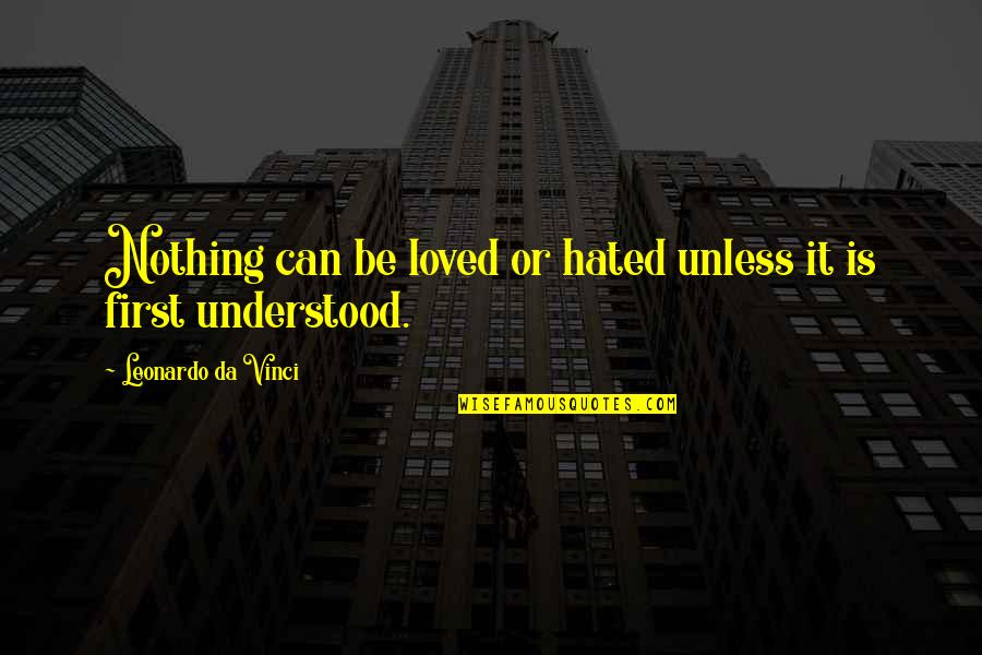 Hated Quotes By Leonardo Da Vinci: Nothing can be loved or hated unless it