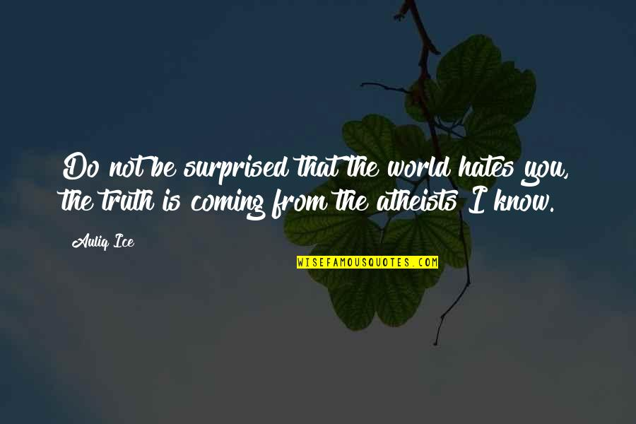 Hates Quotes By Auliq Ice: Do not be surprised that the world hates