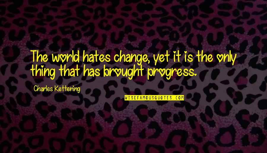 Hates Quotes By Charles Kettering: The world hates change, yet it is the