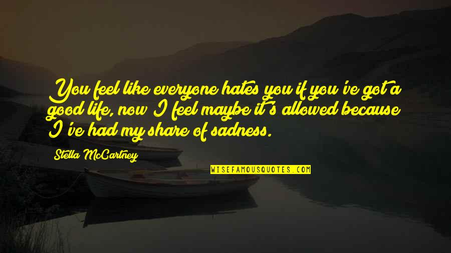 Hates Quotes By Stella McCartney: You feel like everyone hates you if you've