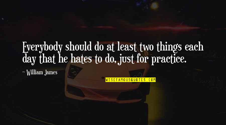 Hates Quotes By William James: Everybody should do at least two things each