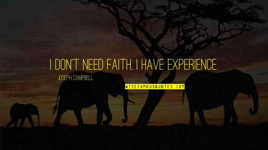 Have Faith Quotes By Joseph Campbell: I don't need faith. I have experience.