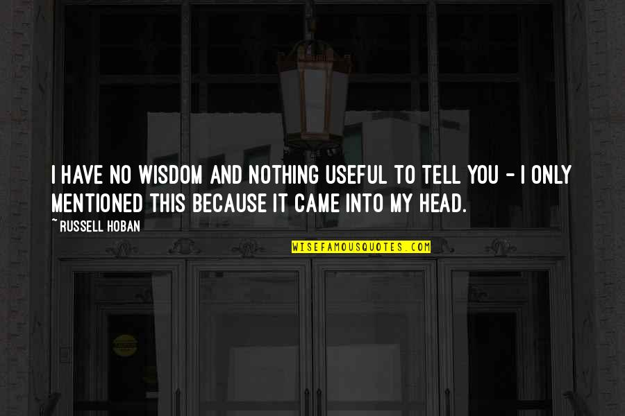 Have I Mentioned Quotes By Russell Hoban: I have no wisdom and nothing useful to