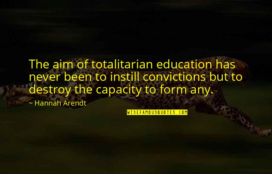 Haven't Forgotten You Quotes By Hannah Arendt: The aim of totalitarian education has never been