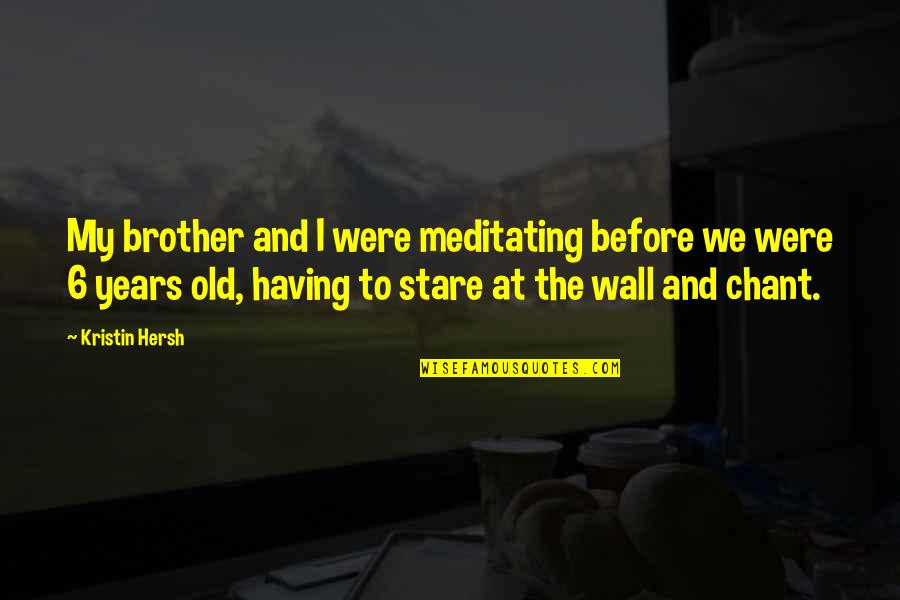 Having A Brother Quotes By Kristin Hersh: My brother and I were meditating before we