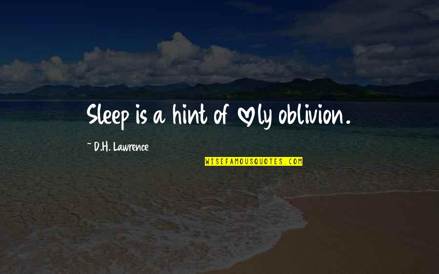 Having A Good Boy Quotes By D.H. Lawrence: Sleep is a hint of lovely oblivion.