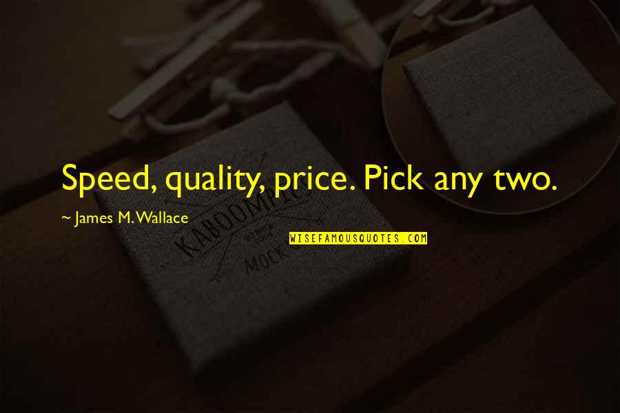 Having An Easy Life Quotes By James M. Wallace: Speed, quality, price. Pick any two.