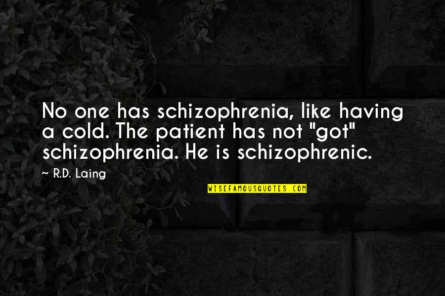 Having No One Quotes By R.D. Laing: No one has schizophrenia, like having a cold.
