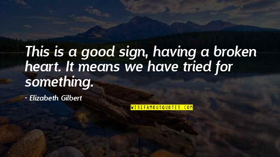 Having Something Good Quotes By Elizabeth Gilbert: This is a good sign, having a broken