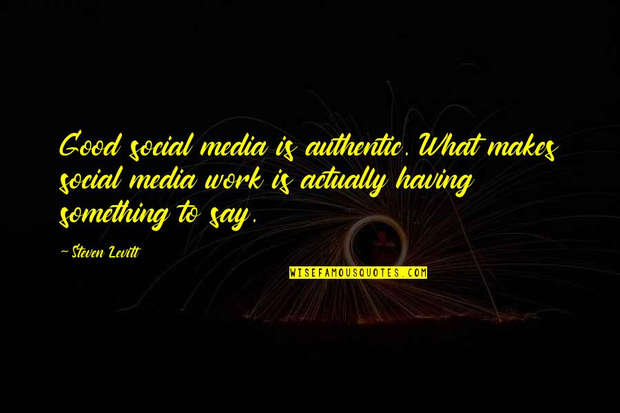 Having Something Good Quotes By Steven Levitt: Good social media is authentic. What makes social
