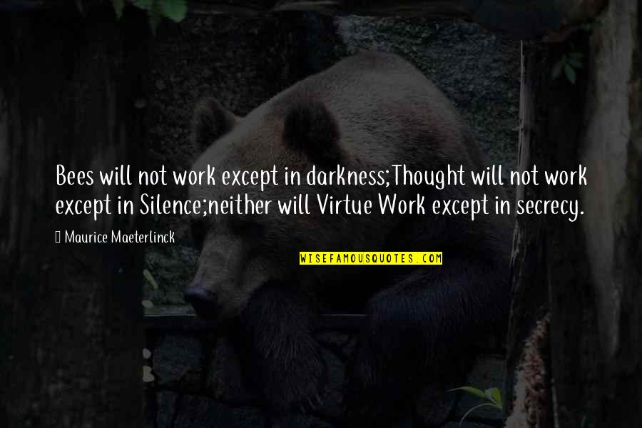 Having Things Handed To You Quotes By Maurice Maeterlinck: Bees will not work except in darkness;Thought will