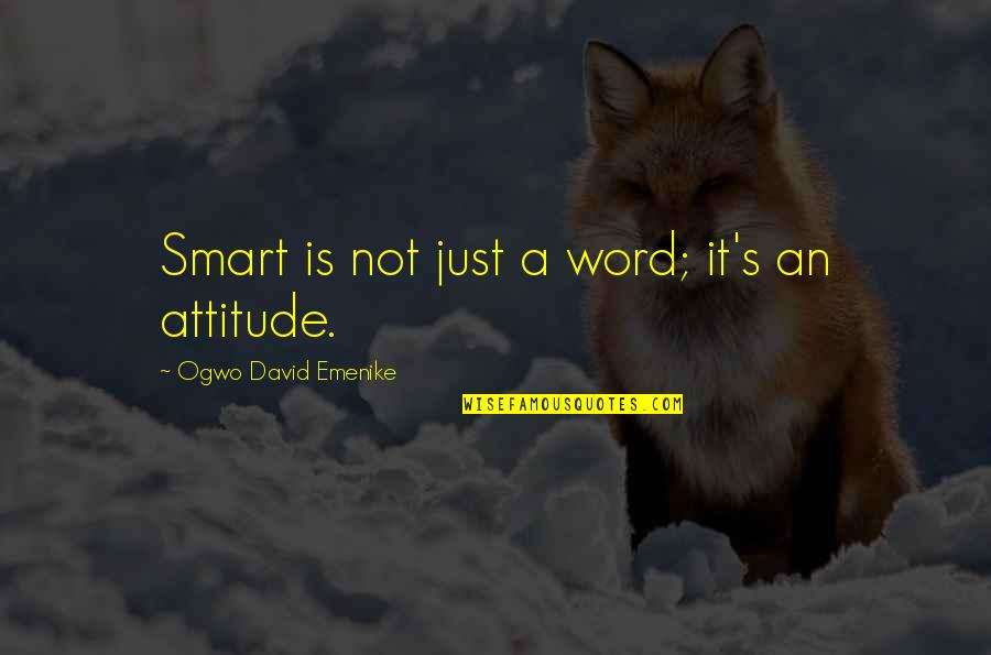 Having To Take Care Of Yourself Quotes By Ogwo David Emenike: Smart is not just a word; it's an