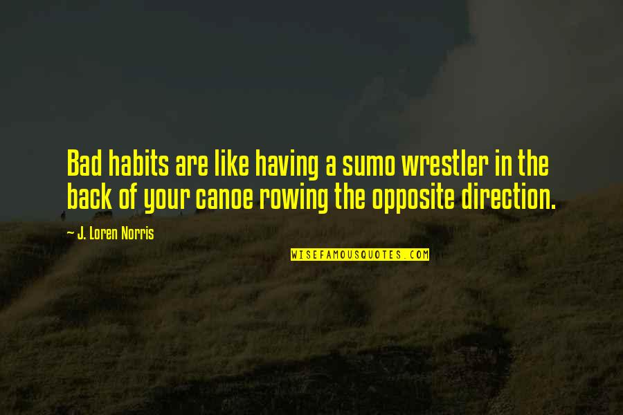Having Your Back Quotes By J. Loren Norris: Bad habits are like having a sumo wrestler