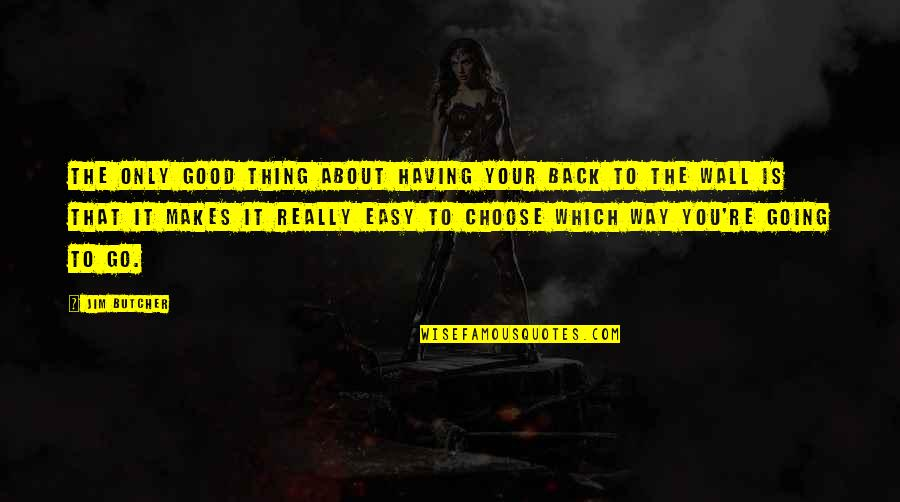 Having Your Back Quotes By Jim Butcher: The only good thing about having your back