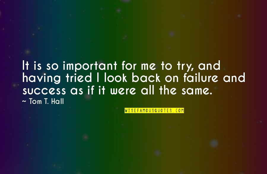 Having Your Back Quotes By Tom T. Hall: It is so important for me to try,