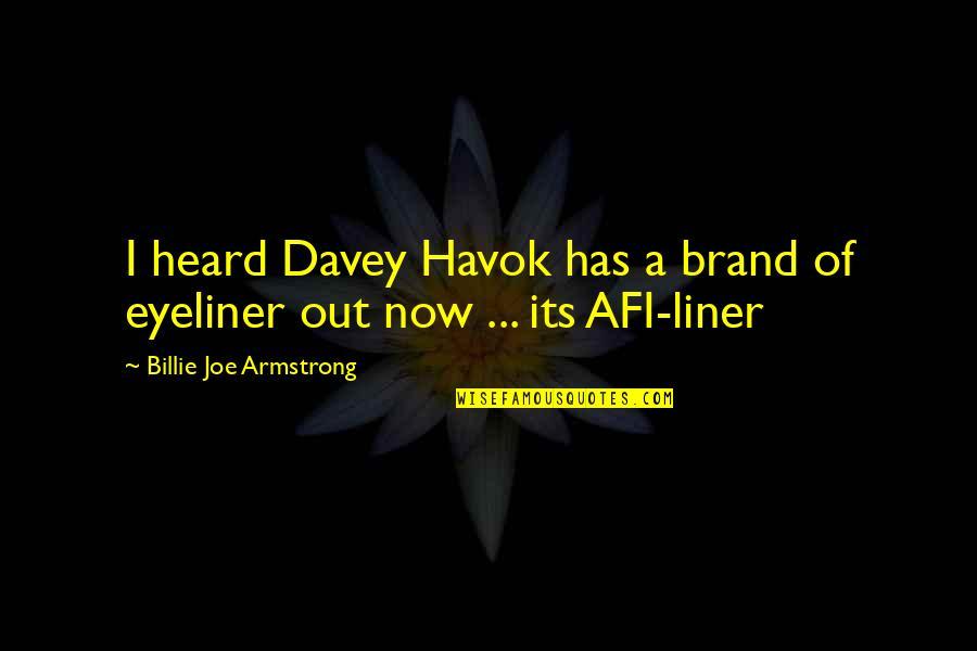 Havok Quotes By Billie Joe Armstrong: I heard Davey Havok has a brand of