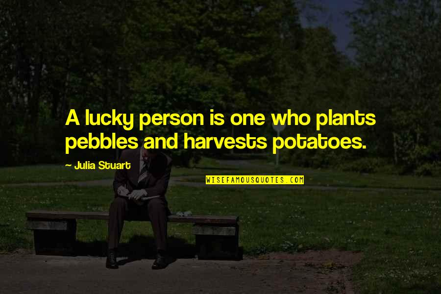Hawkesworth's Quotes By Julia Stuart: A lucky person is one who plants pebbles