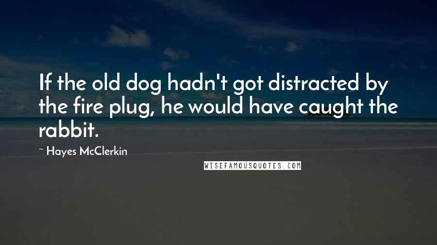 Hayes McClerkin quotes: If the old dog hadn't got distracted by the fire plug, he would have caught the rabbit.