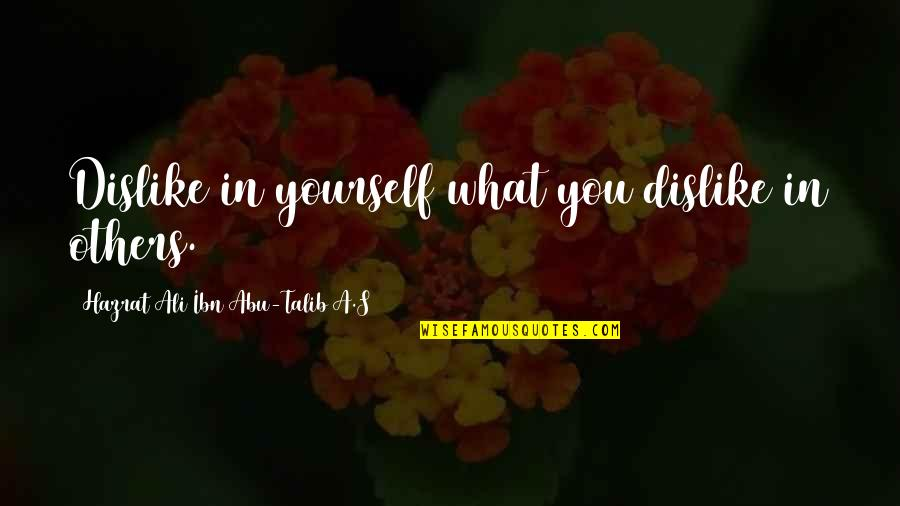 Hazrat Ali R A Quotes By Hazrat Ali Ibn Abu-Talib A.S: Dislike in yourself what you dislike in others.