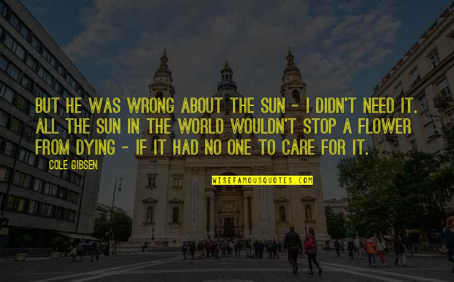 He Didn't Care Quotes By Cole Gibsen: But he was wrong about the sun -
