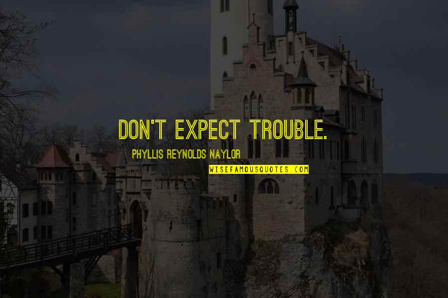 He Got Me Feeling Quotes By Phyllis Reynolds Naylor: Don't expect trouble.