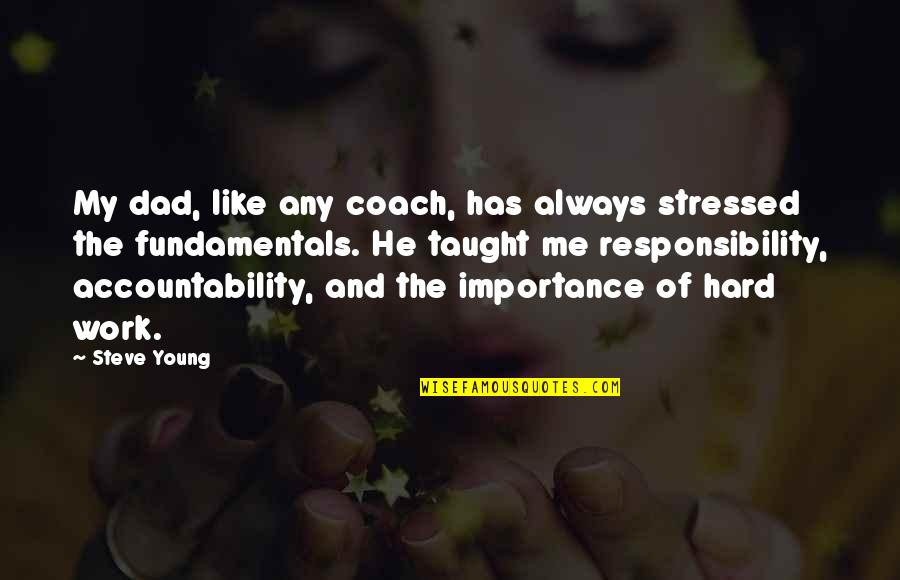 He Has Me Quotes By Steve Young: My dad, like any coach, has always stressed
