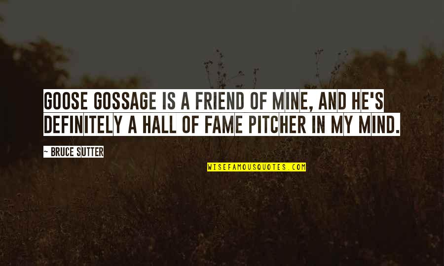 He Is Not Mine Quotes By Bruce Sutter: Goose Gossage is a friend of mine, and