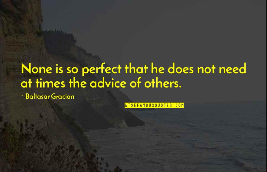 He Is Not Perfect Quotes By Baltasar Gracian: None is so perfect that he does not