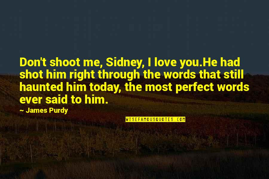He Is Not Perfect Quotes By James Purdy: Don't shoot me, Sidney, I love you.He had