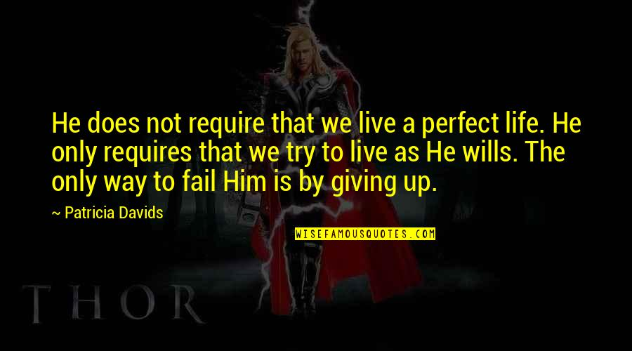 He Is Not Perfect Quotes By Patricia Davids: He does not require that we live a