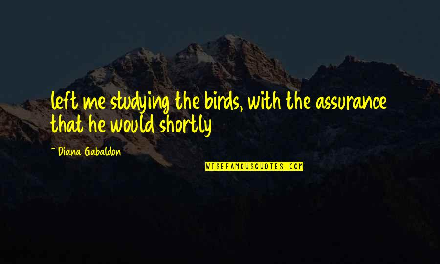 He Left Quotes By Diana Gabaldon: left me studying the birds, with the assurance