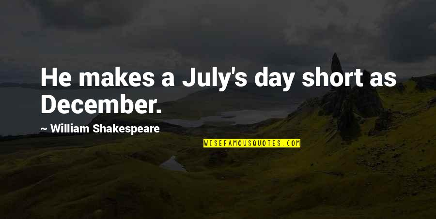 He Makes My Day Quotes By William Shakespeare: He makes a July's day short as December.