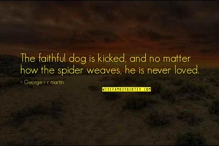 He Never Loved You Quotes By George R R Martin: The faithful dog is kicked, and no matter