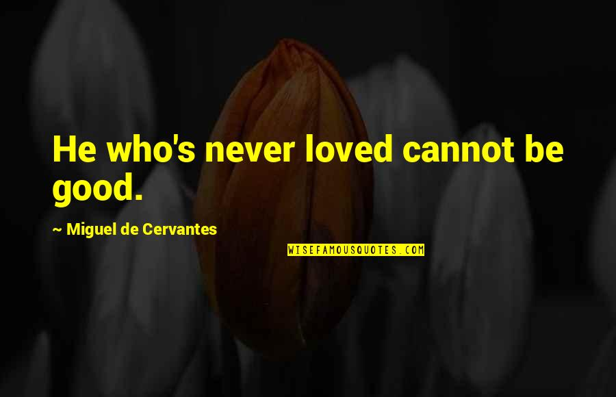 He Never Loved You Quotes By Miguel De Cervantes: He who's never loved cannot be good.
