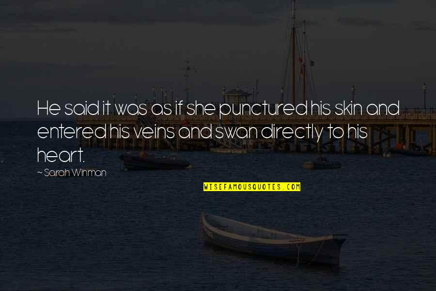 He Said Love Quotes By Sarah Winman: He said it was as if she punctured