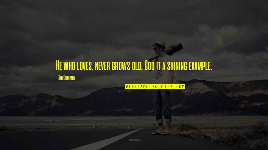 He Who Loves Quotes By Sri Chinmoy: He who loves, never grows old. God it
