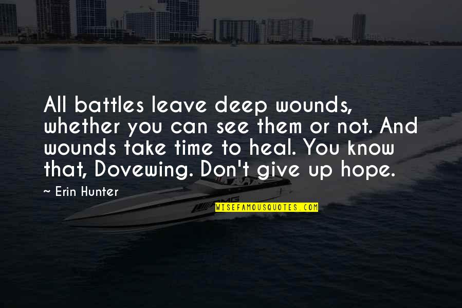 Heal My Wounds Quotes By Erin Hunter: All battles leave deep wounds, whether you can