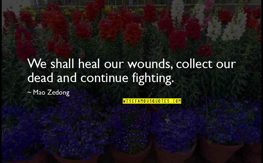 Heal My Wounds Quotes By Mao Zedong: We shall heal our wounds, collect our dead
