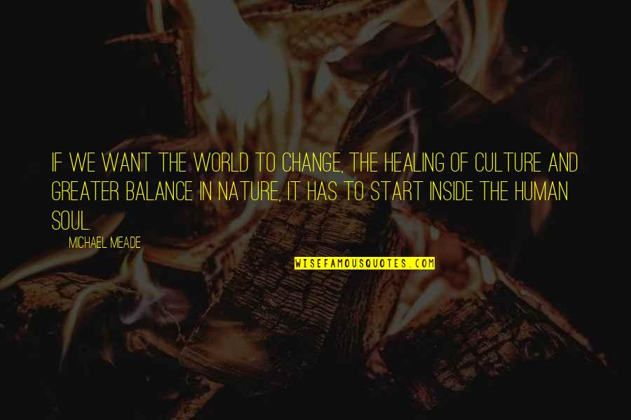 Healing The World Quotes By Michael Meade: If we want the world to change, the