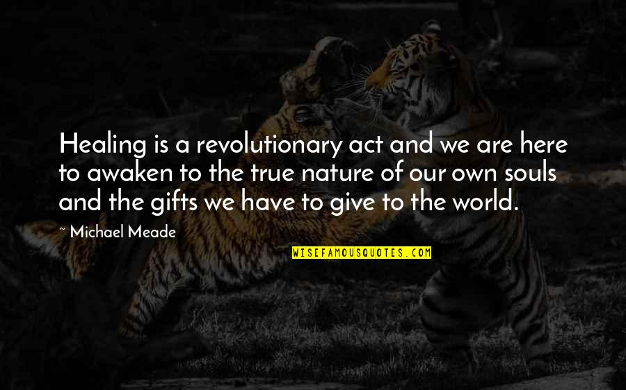 Healing The World Quotes By Michael Meade: Healing is a revolutionary act and we are