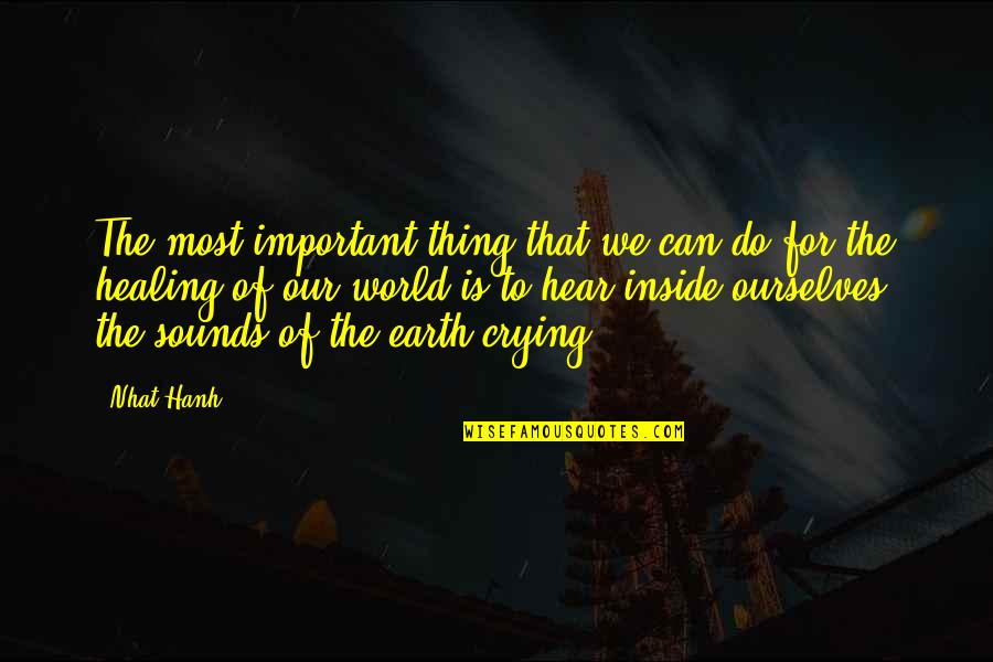 Healing The World Quotes By Nhat Hanh: The most important thing that we can do