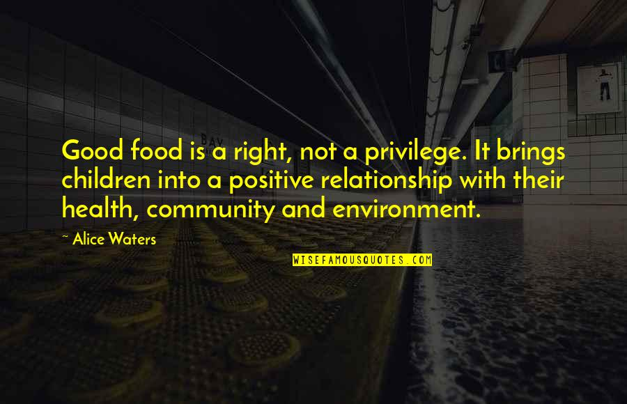Health And Environment Quotes By Alice Waters: Good food is a right, not a privilege.