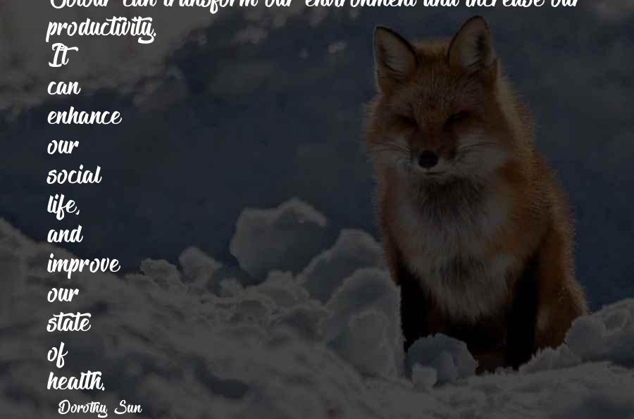Health And Environment Quotes By Dorothy Sun: Colour can transform our environment and increase our