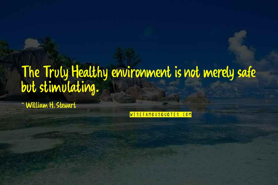 Health And Environment Quotes By William H. Stewart: The Truly Healthy environment is not merely safe