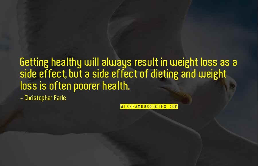 Health And Fitness Inspirational Quotes By Christopher Earle: Getting healthy will always result in weight loss